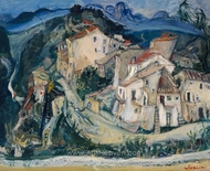 View of Cagnes painting reproduction, Chaim Soutine