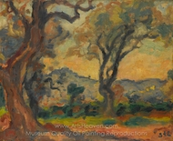 View of Cagnes painting reproduction, Georges d'Espagnat
