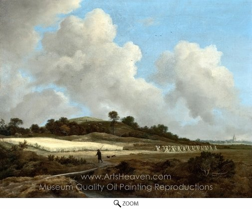 Jacob Van Ruisdael, View of Grainfields with a Distant Town oil painting reproduction