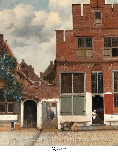 Jan Vermeer, View of Houses in Delft oil painting reproduction