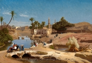 View of Medinet El-Fayoum painting reproduction, Jean-Leon Gerome
