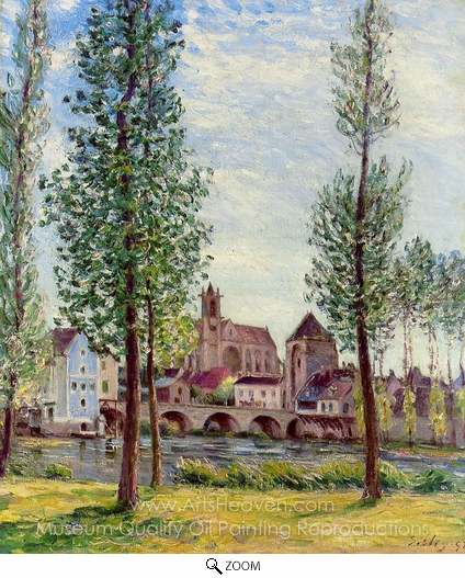 Alfred Sisley, View of Moret-sur-Loing through the Trees oil painting reproduction