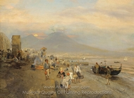 View of Naples at Sunset painting reproduction, Oswald Achenbach
