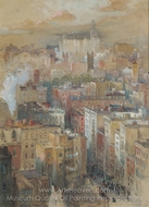 View of New York City painting reproduction, Colin Campbell Cooper