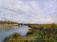 View of Saint-Mammes painting reproduction, Alfred Sisley