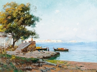View of the Bay of Naples painting reproduction, Carlo Brancaccio