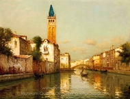 View of the Campanile on the Rio San Barnaba in Venice painting reproduction, Antoine Bouvard