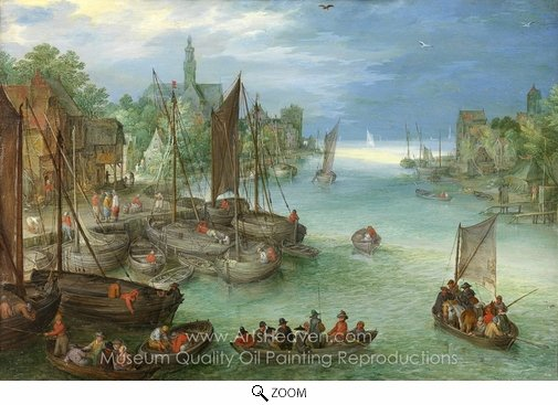 Jan Brueghel, View of the City on a River oil painting reproduction