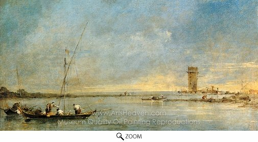 Francesco Guardi, View of the Venetian Lagoon with the Tower of Malghera oil painting reproduction