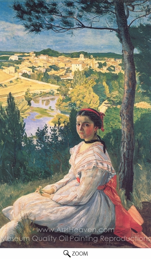Jean Frederic Bazille, View of the Village oil painting reproduction