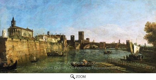 Bernado Bellotto, View of Verona with the Castelvecchio and Ponte Scaligero oil painting reproduction