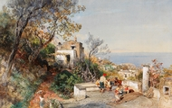 View Over the Bay of Naples painting reproduction, Oswald Achenbach