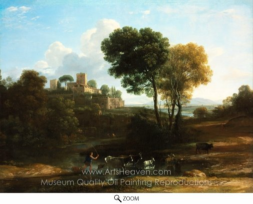 Claude Lorraine, Villa in the Roman Campagna oil painting reproduction