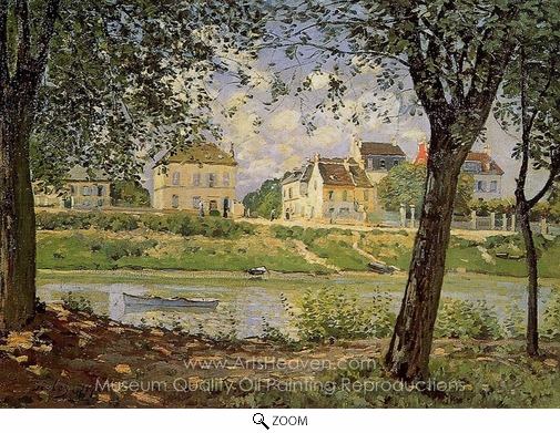 Alfred Sisley, Village on the Banks of the Seine oil painting reproduction
