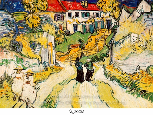 Vincent Van Gogh, Village Street and Steps in Auvers with Figures oil painting reproduction