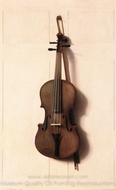 Violin and Bow painting reproduction, Jefferson D. Chalfant