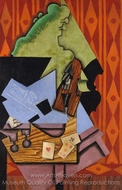 Violin and Playing Cards on a Table painting reproduction, Juan Gris