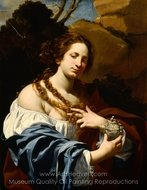 Virginia da Vezzo, the Artist's Wife, as the Magdalen painting reproduction, Simon Vouet