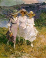 Walking in the Hills painting reproduction, Edward Henry Potthast