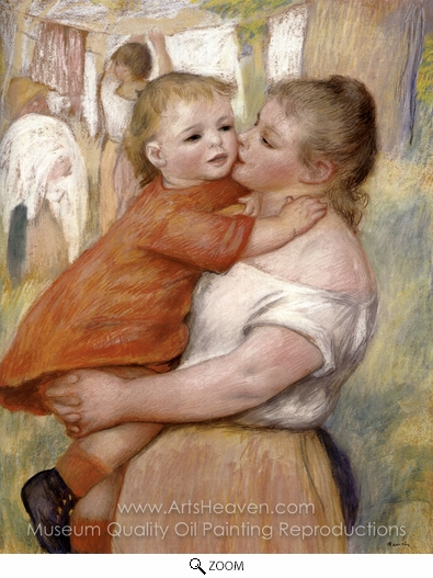 Pierre-Auguste Renoir, Washerwoman and Baby (Aline and Pierre) oil painting reproduction