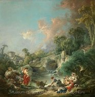 Washerwomen painting reproduction, Francois Boucher