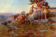 Watching for Wagons painting reproduction, Charles Marion Russell