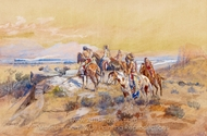 Watching the Iron Horse painting reproduction, Charles Marion Russell
