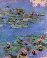 Water Lilies, Red painting reproduction, Claude Monet