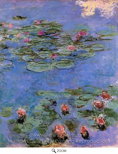 Claude Monet, Water Lilies, Red oil painting reproduction