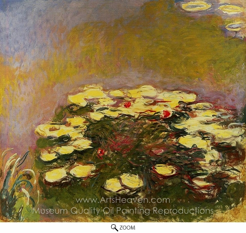 Claude Monet, Water Lilies, Yellow oil painting reproduction