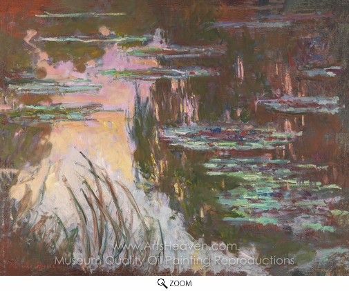 Claude Monet, Water Lillies, Setting Sun oil painting reproduction
