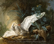 Water Spaniel Surprising a Swan on its Nest painting reproduction, Jean-Baptiste Oudry