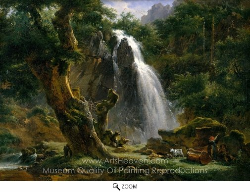 Achille-Etna Michallon, Waterfall at Mont-Dore oil painting reproduction