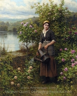 Watering the Garden painting reproduction, Daniel Ridgway Knight