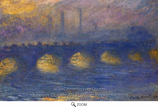 Claude Monet, Waterloo Bridge, Overcast Weather oil painting reproduction