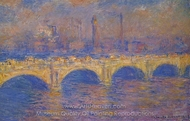 Waterloo Bridge, Sunlight Effect painting reproduction, Claude Monet
