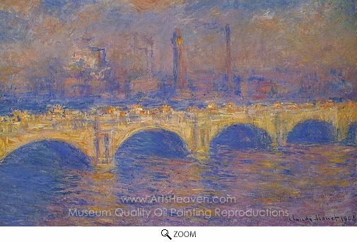 Claude Monet, Waterloo Bridge, Sunlight Effect oil painting reproduction