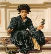 Weaving the Wreath painting reproduction, Lord Frederic Leighton