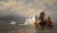 Whaler and Fishing Vessels near the Coast of Labrador painting reproduction, William Bradford