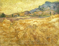 Wheat Field with Reaper and Sun painting reproduction, Vincent Van Gogh
