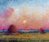 Wheat Stack at Sunset painting reproduction, Ferdinand Du Puigaudeau