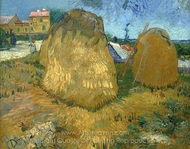 Wheat Stacks in Provence painting reproduction, Vincent Van Gogh