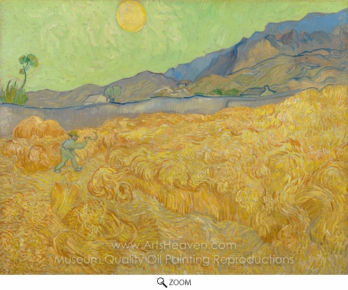 Vincent Van Gogh, Wheatfield with a Reaper oil painting reproduction