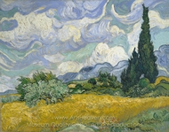 Wheatfield with Cypresses at the Haute Galline painting reproduction, Vincent Van Gogh