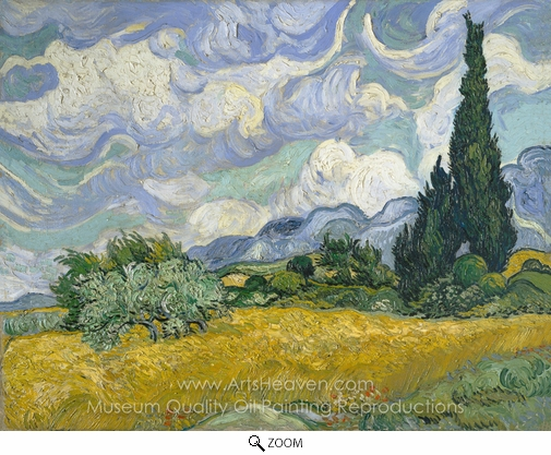 Vincent Van Gogh, Wheatfield with Cypresses at the Haute Galline oil painting reproduction