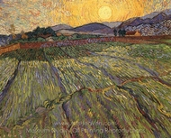 Wheatfield with Rising Sun painting reproduction, Vincent Van Gogh