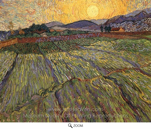 Vincent Van Gogh, Wheatfield with Rising Sun oil painting reproduction