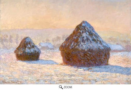 Claude Monet, Wheatstacks, Snow Effect, Morning oil painting reproduction