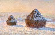 Wheatstacks, Snow Effect, Morning painting reproduction, Claude Monet