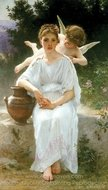 Whisperings of Love painting reproduction, William A. Bouguereau